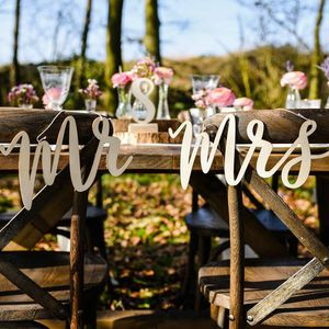 Wooden Mr And Mrs Wedding Signs – Laser Cut - outdoor decorations