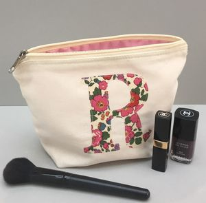 Liberty Print Personalised Applique Make Up/Wash Bag - wedding fashion