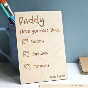 Fathers Day Card Personalised Wooden Postcard