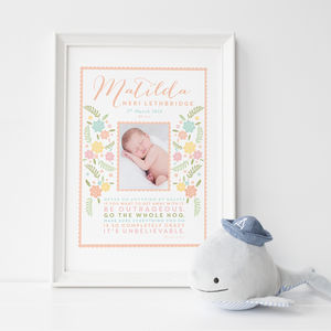 Personalised New Baby Photo Print 'Roald Dahl' Quote - new baby gifts