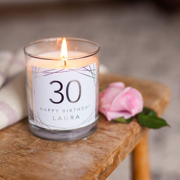 30th Birthday Personalised Candle Gift