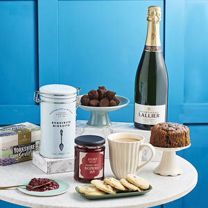 Champagne Afternoon Tea With Ceramic Mug And Cake Stand