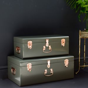 Set Of Two Metal Trunks - storage & organisers