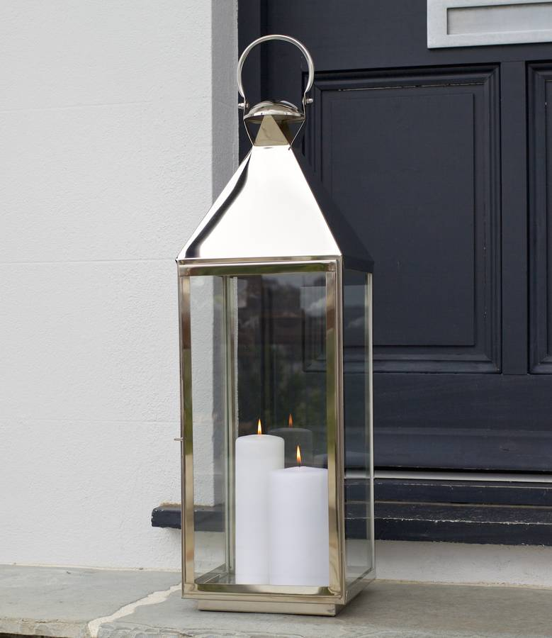 Tall Stainless Steel Garden Candle Lantern By Za Homes