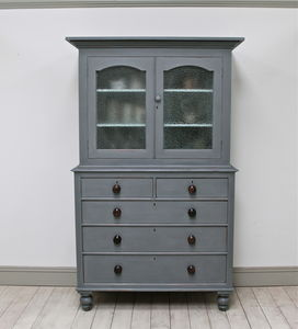 Distressed Victorian Oak Press Cupboard - bedroom