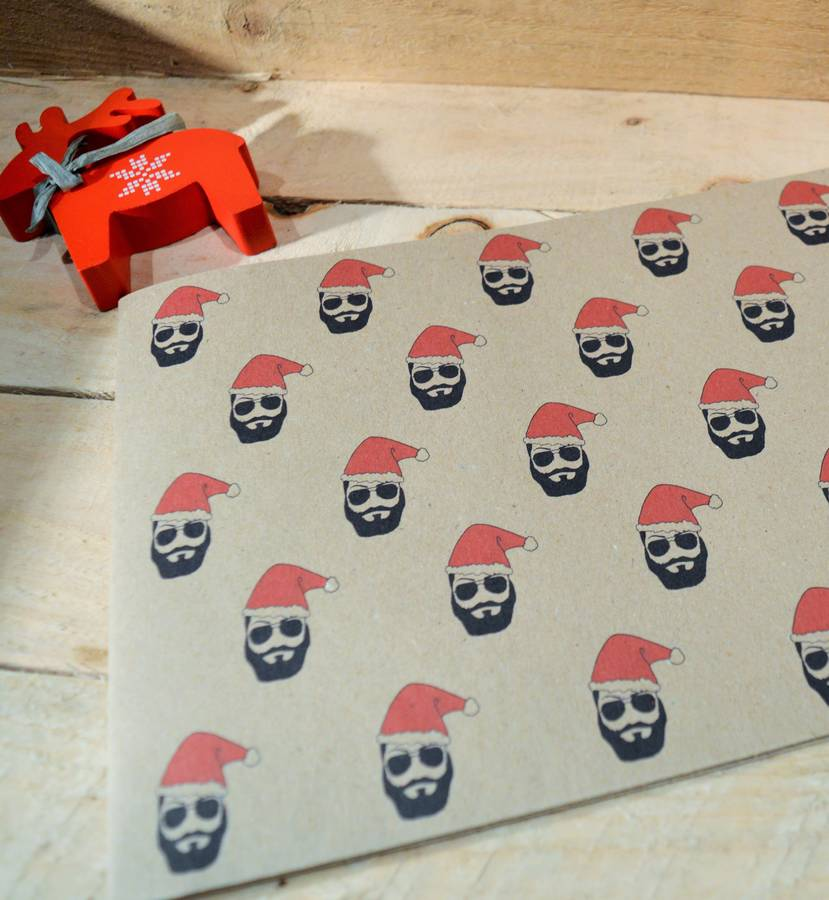 handmade beard christmas wrapping paper by good day organics. Black Bedroom Furniture Sets. Home Design Ideas