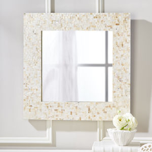 Mother Of Pearl Square Wall Mirror - mirrors