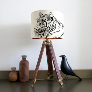 Tiger Lampshade With Colour Inside Lining - children's lights & night lights