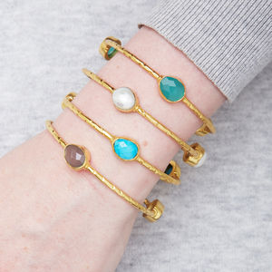 Gold Stackable Bangle With Semi Precious Set Stones - bracelets & bangles
