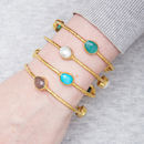 Gold Stackable Bangle With Semi Precious Set Stones