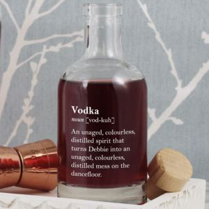 Funny Personalised Vodka Definition Bottle - drinks connoisseur