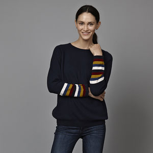 Maxine Cashmere Jumper With Stripe Sleeve - jumpers & cardigans