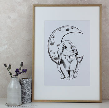 Bunny And Moon Art Print