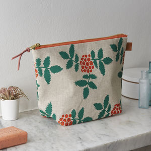 Rowan Berry Botanical Screen Printed Linen Wash Bag - wash & toiletry bags