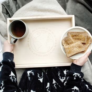 Personalised Love You The Whole World Breakfast Tray