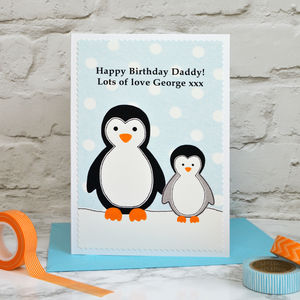 'Penguin' Personalised Birthday Card From Children