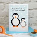 'Penguin' Mens Birthday Card From Baby Or Child
