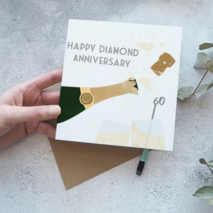 60th Diamond Wedding Anniversary Card - anniversary cards