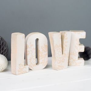 Personalised Lace Print Concrete Letters - valentine's gifts for him