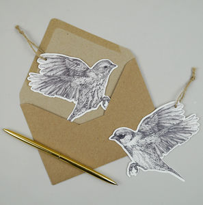 Set Of Two Paper Sparrow Illustrations With Envelopes