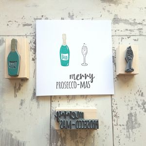 Christmas Prosecco Rubber Stamp Set