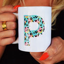 Personalised Initial Ceramic Mug With Colourful Pattern