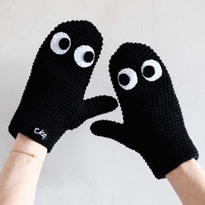 Handmade Mittens With Googly Eyes In Organic Cotton