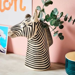 African Animal Head Ceramic Vase