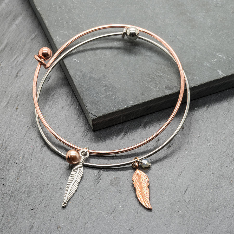 Rose Gold Silver Feather Charm Bracelets Gift For Her