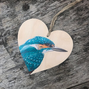 Kingfisher Wooden Hanging Heart Decoration