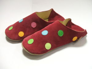 Ladies Soft Leather Raspberry Polk Dot Slip On Slippers - shoes