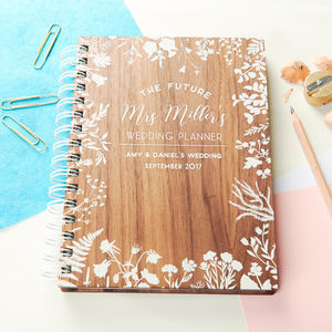 Personalised Walnut Wedding Notebook Planner - wedding wedmin