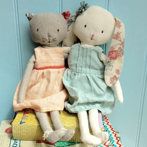 Vintage Style Personalised Cat Or Rabbit Soft Toy - gifts for children