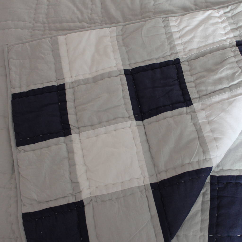 Blue And Grey Gingham Quilt By Lime Tree London