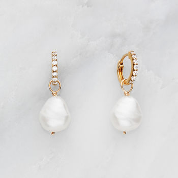 Gold Or Silver Huggie Pearl Drop Earrings