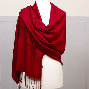 Rich Red Pashmina Shawl - scarves