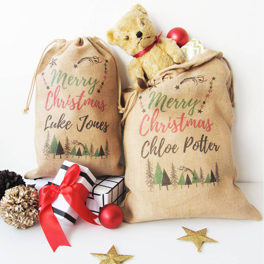 Personalised Christmas Sack With Trees Print