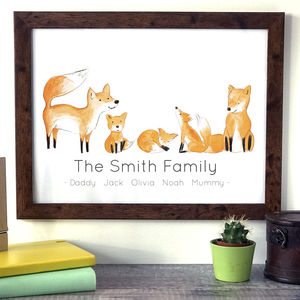 Personalised Family Fox Portrait Print - pictures & prints for children