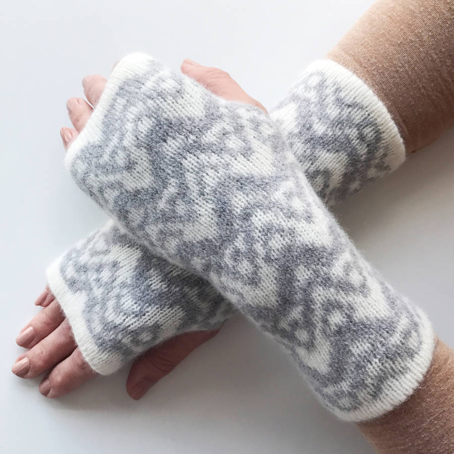 knitted ladies wrist warmers waves pattern by little knitted stars ...