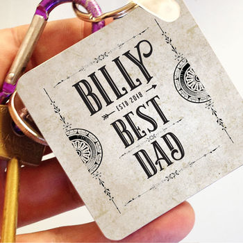 Personalised Vintage 'Best Dad' Keyring