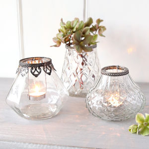 Patterned Glass Tealight Holder Or Vase - dining room