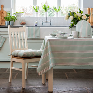 Eastnor Green Grey Ticking Stripe Organic Table Cloth