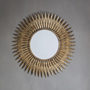 Gold Embossed Feather Wall Mirror - mirrors