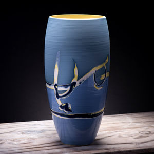 Large Ceramic Blue Vase Coast Series - vases