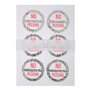 No Peeking Glitter And Neon Christmas Sticker Set Of 60 - wedding favours