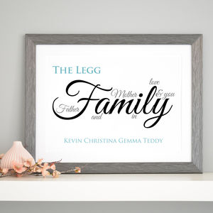 Personalised Family Definition Art - prints for families