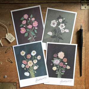 Hand Illustrated 'Flowers By Post' Postcard Set