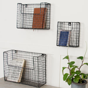 Set Of Three Wall Mounted Black Wire Storage Baskets - magazine racks