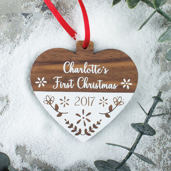 Personalised First Christmas Scandi Walnut Wood Bauble