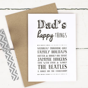 Personalised 'Happy Things' Card For Dad - personalised cards